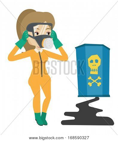 Concerned woman in radiation protective suit clutching her head. Woman in radiation suit looking at leaking barrel with radiation sign. Vector flat design illustration isolated on white background.
