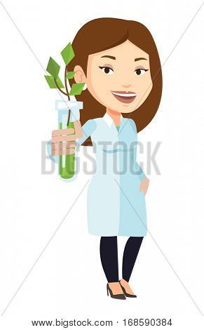 Scientist holding test tube with young sprout. Woman analyzing sprout in test tube. Laboratory assistant holding test tube with sprout. Vector flat design illustration isolated on white background.