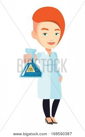 Laboratory assistant holding flask with biohazard sign. Caucasian laboratory assistant in medical gown showing flask with biohazard sign. Vector flat design illustration isolated on white background.