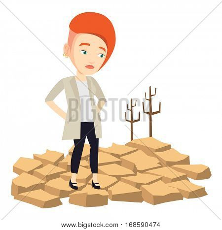 Caucasian woman standing in the desert. Frustrated girl standing on cracked earth in the desert. Climate change and global warming concept. Vector flat design illustration isolated on white background