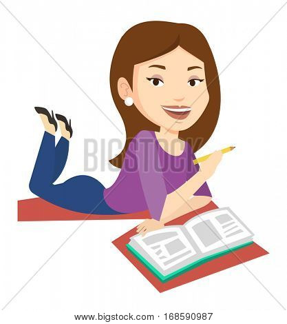 Caucasian student laying on the floor and reading a book. Female student laying with notebook. Student writing while laying on the floor. Vector flat design illustration isolated on white background.