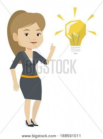 Caucasian student pointing her finger up at the idea bulb. Young excited female student with bright idea bulb. Student having a great idea. Vector flat design illustration isolated on white background