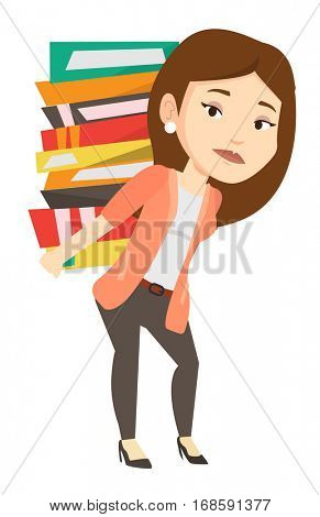 Tired student carrying a heavy pile of books on back. Sad student walking with huge stack of books. Student preparing for exam with books. Vector flat design illustration isolated on white background.