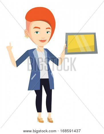 Student using a tablet computer for education. Student holding tablet computer and pointing forefinger up. Educational technology concept. Vector flat design illustration isolated on white background.