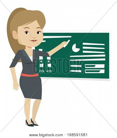 Young teacher standing in classroom. Teacher standing in front of blackboard with piece of chalk in hand. Teacher writing on a chalkboard. Vector flat design illustration isolated on white background.