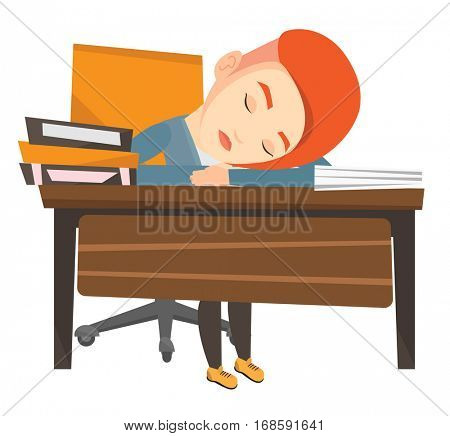 Fatigued student sleeping at the desk with books. Tired student sleeping after learning. Girl sleeping among the books at the table. Vector flat design illustration isolated on white background.