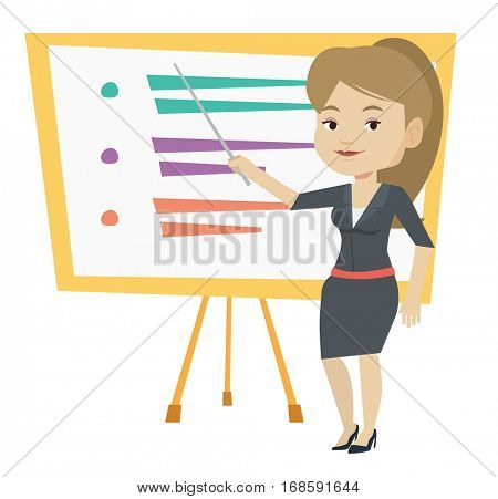 Happy caucasian teacher standing in front of board with a pointer. Teacher standing with pointer in classroom. Young teacher with pointer. Vector flat design illustration isolated on white background.