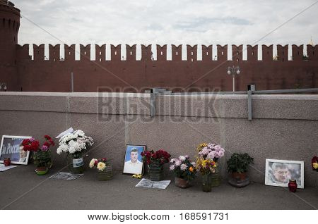MOSCOW - SEPTEMBER 22 2015: Memorial to Boris Nemtsov on Bolshoy Moskvoretsky Bridge. Politician was assassinated here on February 27 2015
