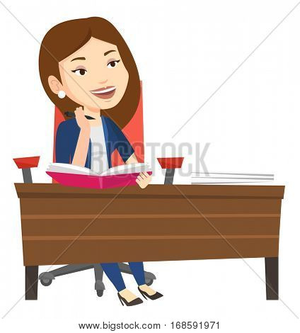 Caucasian female student sitting at the table and thinking. Thinking student writing in exercise book. Thinking student doing homework. Vector flat design illustration isolated on white background.