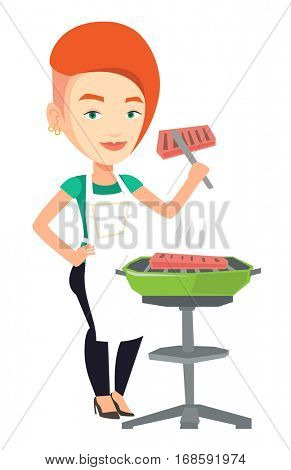 Caucasian woman cooking steak on the barbecue grill. Young woman preparing steak on the barbecue grill. Woman having outdoor barbecue. Vector flat design illustration isolated on white background.