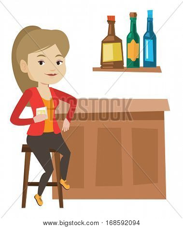 Happy woman sitting at the bar counter. Woman sitting with glass in bar. Woman sitting alone and celebrating with an alcohol drink in bar. Vector flat design illustration isolated on white background.