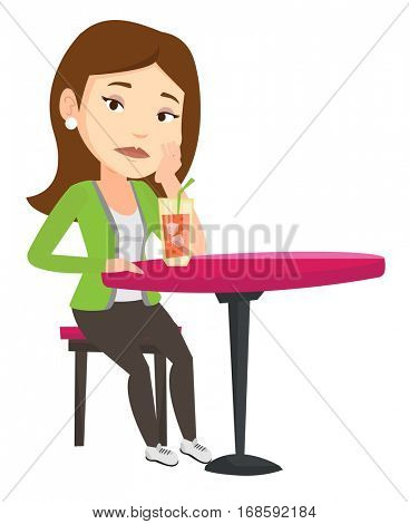 Caucasian woman sitting in bar and drinking cocktail. Young sad woman sitting alone in bar with cocktail. Woman drinking cocktail in bar. Vector flat design illustration isolated on white background.