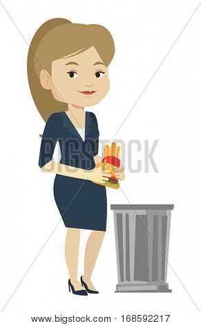 Caucasian woman putting junk food into a trash bin. Young woman refusing to eat junk food. Woman rejecting junk food. Diet concept. Vector flat design illustration isolated on white background.