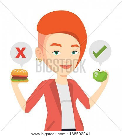 Woman holding apple and hamburger. Woman choosing between apple and hamburger. Woman choosing between healthy and unhealthy nutrition. Vector flat design illustration isolated on white background.