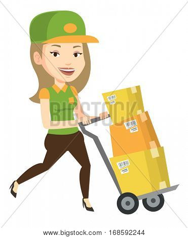 Young delivery postman with cardboard boxes on trolley. Delivery postman pushing trolley with boxes. Delivery postman delivering parcels. Vector flat design illustration isolated on white background. poster