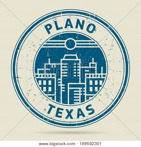 Grunge rubber stamp or label with text Plano Texas written inside vector illustration