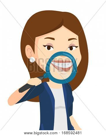 Woman holding a magnifying glass in front of her teeth. Caucasian woman examining her teeth with magnifier. Concept of teeth examining. Vector flat design illustration isolated on white background.