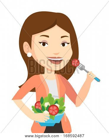 Caucasian woman eating healthy vegetable salad. Woman enjoying fresh vegetable salad. Woman holding fork and bowl with vegetable salad. Vector flat design illustration isolated on white background.