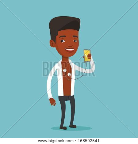 African man checking his blood pressure with smartphone application. Man taking care of his health while measuring heart rate pulse with smartphone app. Vector flat design illustration. Square layout.