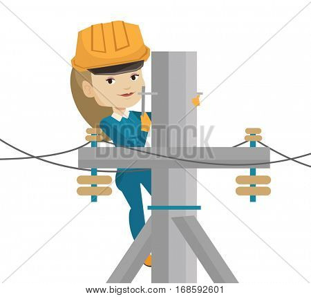 Female electrician working on electric power pole. Electrician at work on electric power pole. Electrician repairing electric power pole. Vector flat design illustration isolated on white background.