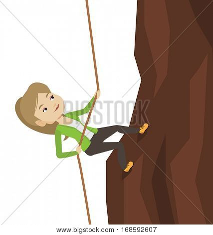 Caucasian business woman climbing on rock. Young brave business woman climbing on the mountain using rope. Concept of business challenge. Vector flat design illustration isolated on white background.
