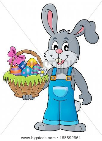 Bunny holding Easter basket theme 1 - eps10 vector illustration.