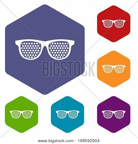 Black pinhole glasses icons set rhombus in different colors isolated on white background