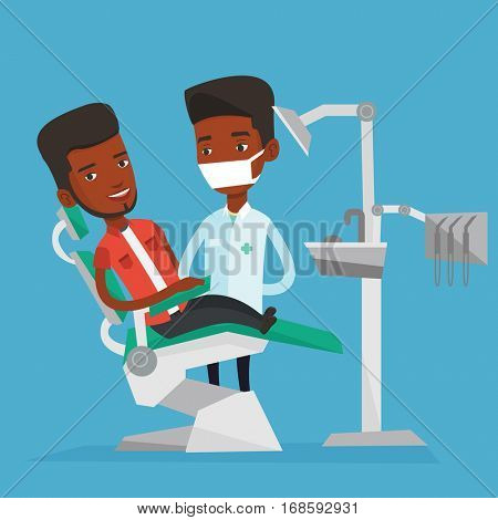 Young african man sitting in dental chair while dentist standing nearby. Doctor and patient in the dental clinic. Patient on reception at the dentist. Vector flat design illustration. Square layout.