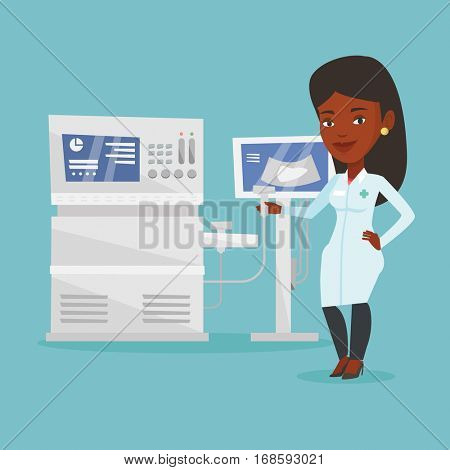 Doctor with ultrasound scanner in hand. Operator of ultrasound scanning machine analyzing liver of patient. Doctor working on modern ultrasound equipment. Vector flat design illustration.Square layout