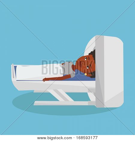 Woman undergoes a magnetic resonance imaging scan test. Woman having magnetic resonance imaging. Magnetic resonance imaging machine scanning patient. Vector flat design illustration. Square layout.