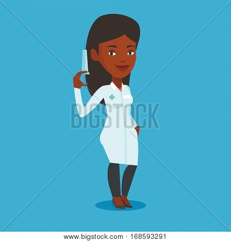 African-american doctor holding medical injection syringe. Young female doctor standing with syringe. Doctor holding a syringe ready for injection. Vector flat design illustration. Square layout.