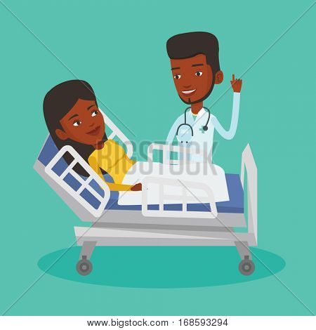 African-american doctor visiting patient. Doctor pointing finger up during visiting of patient. Woman lying in hospital bed while doctor visits her. Vector flat design illustration. Square layout.