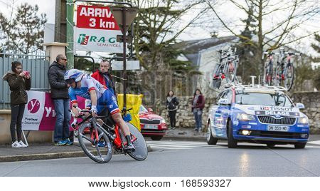 Conflans-Sainte-HonorineFrance-March 62016: The French cyclist Mickael Delage of FDJ Team riding during the prologue stage of Paris-Nice 2016.