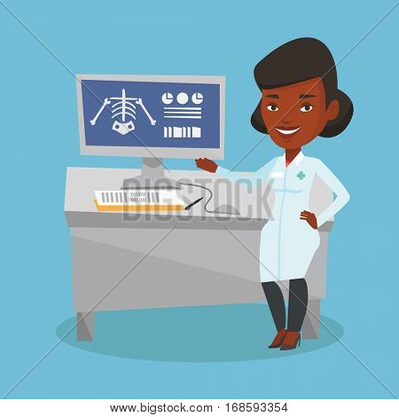 African doctor in medical gown examining a radiograph. Doctor looking at a chest radiograph on computer screen. Doctor observing a skeleton radiograph. Vector flat design illustration. Square layout.