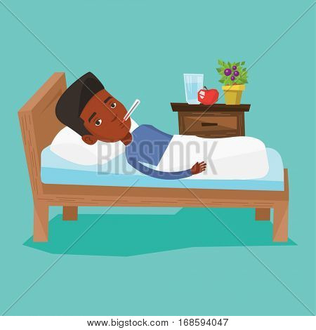 African-american sick man with fever laying in bed. Sick man measuring temperature with thermometer in mouth. Sick man suffering from cold or flu virus. Vector flat design illustration. Square layout.