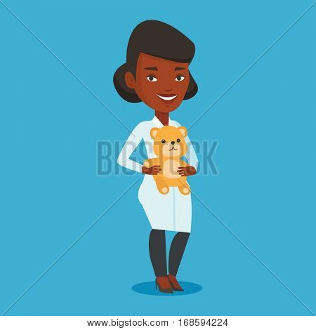 Young african-american pediatrician in medical gown. pediatrician doctor holding a teddy bear. Female pediatrician doctor standing with a teddy bear. Vector flat design illustration. Square layout. poster
