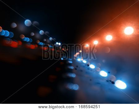 Night city lights on highway bokeh backdrop hd