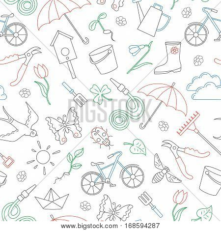 Seamless pattern with simple contour icons on the theme of spring simple colored contour icons on white background