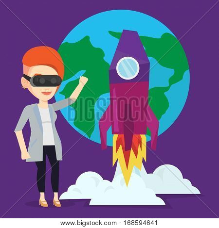 Happy woman in virtual reality headset flying in open space. Young caucasian woman wearing futuristic virtual reality glasses and playing video game. Vector flat design illustration. Square layout.