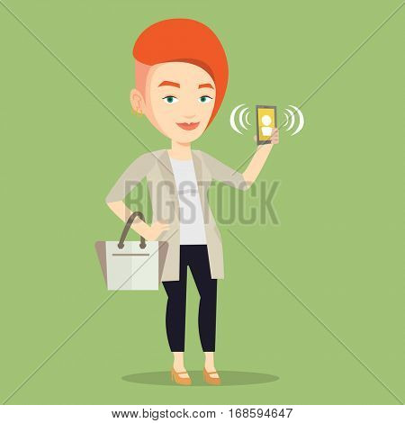 Young caucasian woman holding ringing mobile phone. Woman answering a phone call. Woman standing with ringing phone in hand. Vector flat design illustration isolated on blue background. Square layout.