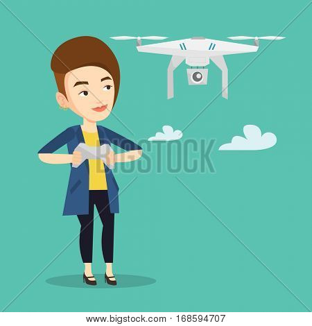 Young caucasian woman flying drone with remote control. Woman operating a drone with remote control. Woman controling a drone. Vector flat design illustration. Square layout.