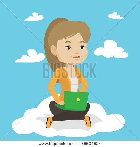 Young caucasian woman sitting on a cloud with laptop. Woman using cloud computing technology. Woman working on computer. Concept of cloud computing . Vector flat design illustration. Square layout.