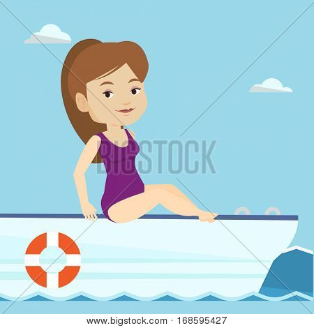 Young caucasian woman travelling by yacht. Happy woman tanning on yacht during summer trip. Smiling woman sitting on the front of yacht. Vector flat design illustration. Square layout.