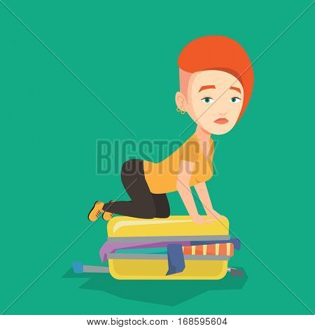 Young caucasian woman sitting on suitcase and trying to close it. Frustrated woman having problems with packing a lot of clothes into a single suitcase. Vector flat design illustration. Square layout.