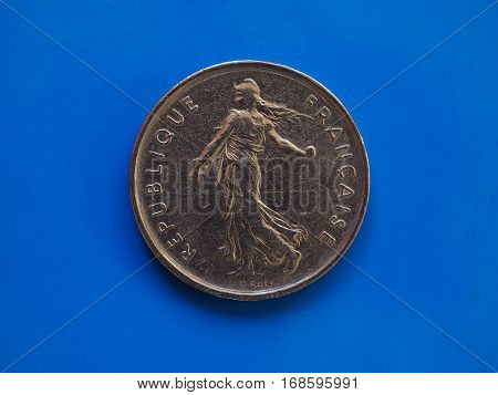5 Francs Coin, France Over Blue