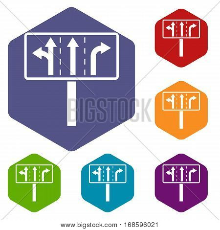 Traffic lanes at crossroads junction icons set rhombus in different colors isolated on white background