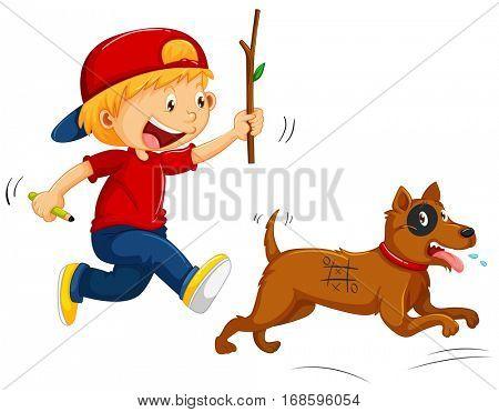 Boy teasing little dog illustration