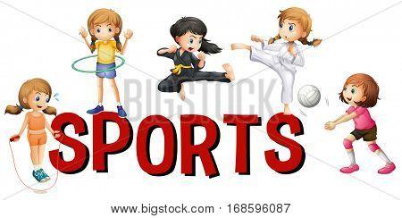Font design for word sports illustration