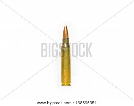 Sizes 5.56 mm rifle bullet. On a white background.