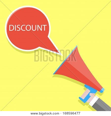 Announcement of discount. Shouts megaphone. Attention banner or poster advertising. Vector illustration